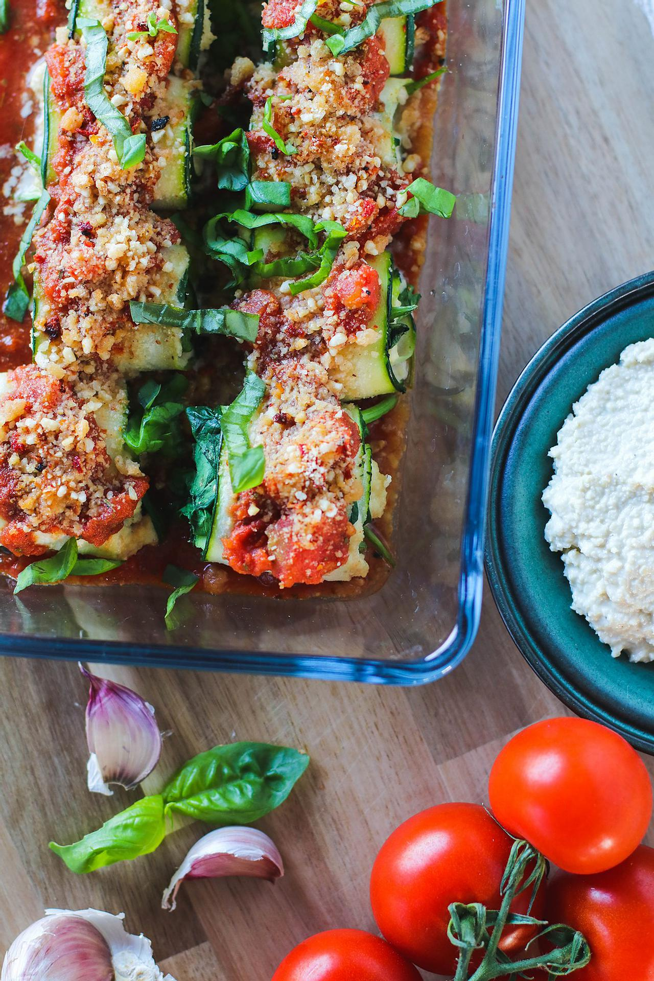 Main image of Zucchini Rolls with Vegan Ricotta Cheese