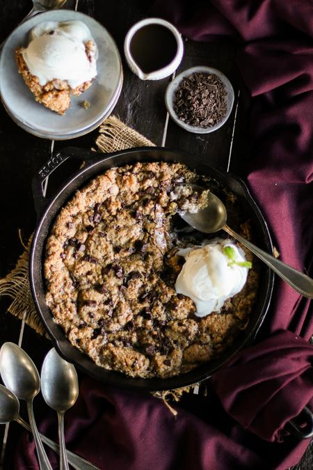 image of Chocolate Chip Caramel Skillet Cookie