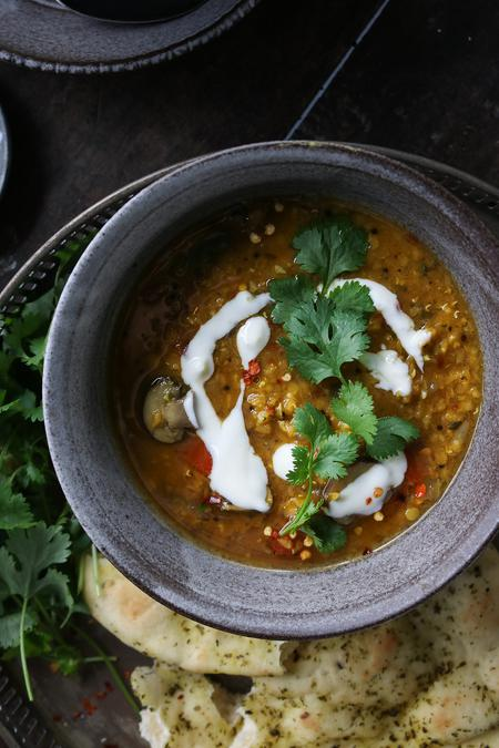 image of One-Pot Golden Red Lentil and Mushroom Curry Soup