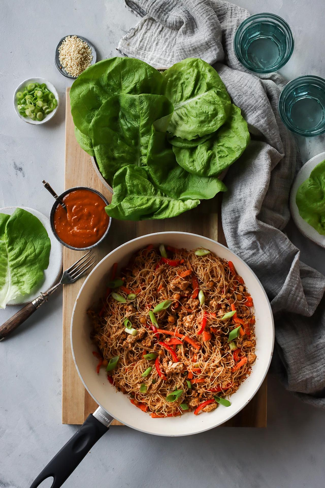 Main image of High Protein Lettuce Wraps with Creamy Peanut Sauce