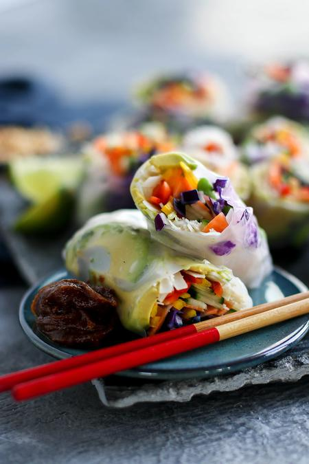 image of Fresh Salad Rolls with a Creamy Peanut Hoisin Sauce