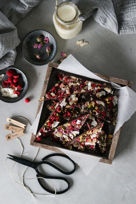 image of Raspberry Rose Chocolate Bark