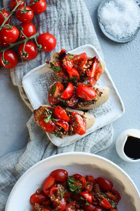 image of Double Tomato Bruschetta with Balsamic Reduction