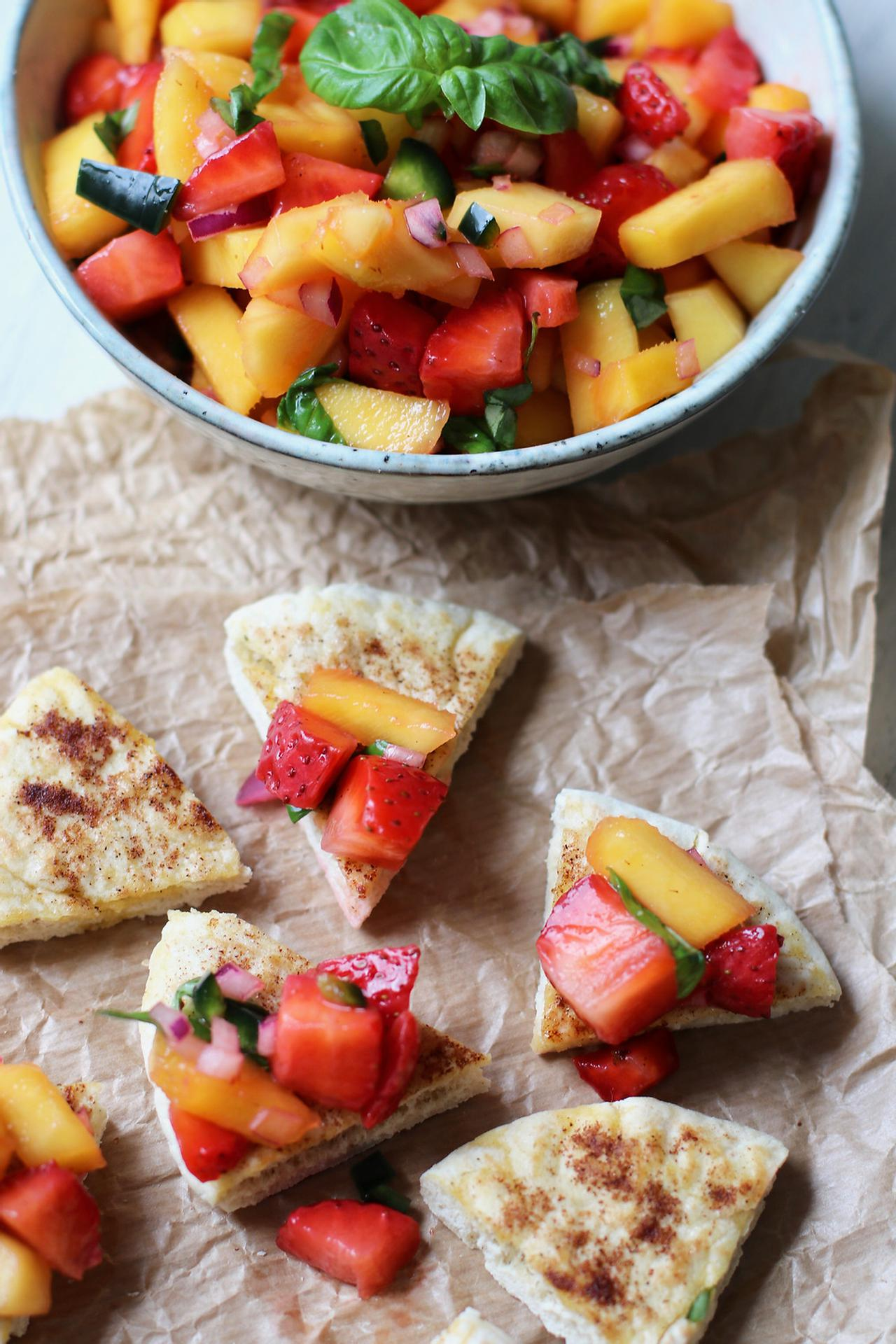 Main image of Strawberry Mango Salsa with Baked Pita Chips