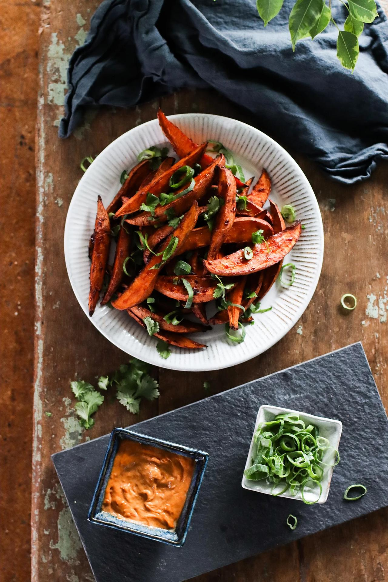 Main image of Sweet & Spicy Miso Roasted Sweet Potatoes with Sambal Tahini Mayo