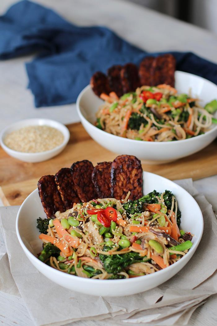 Image of Soba Noodle Bowl with BBQ Tempeh
