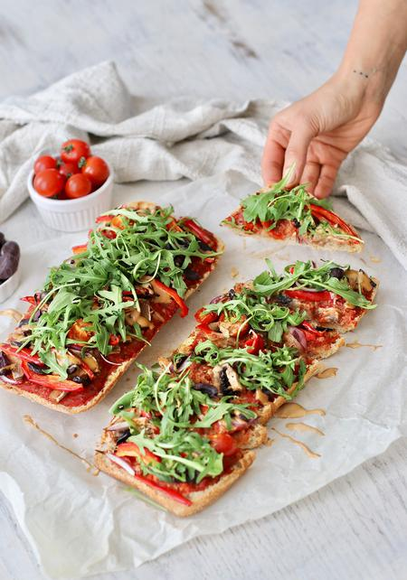 image of Focaccia Pizza with Tahini Balsamic Drizzle