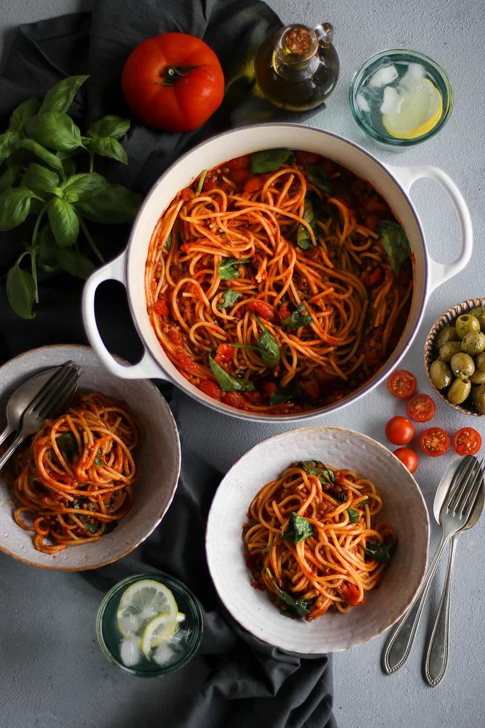 Image of One-Pot Tomato Lentil Pasta
