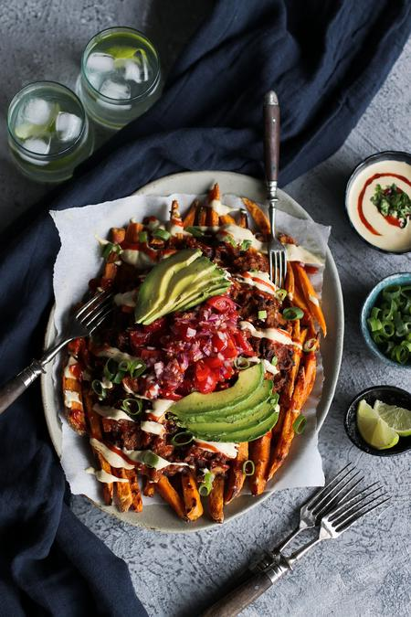image of Loaded Chili Sweet Potato Fries