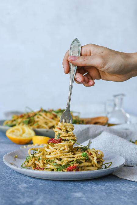 image of Speedy Pea & Basil Pesto Pasta