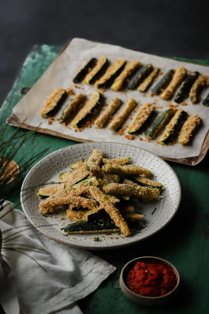 Image of Baked Zucchini Fries with Two Dips