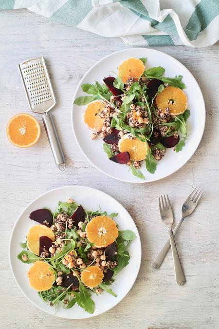 image of Beetroot Quinoa Salad with an Orange Ginger Dressing