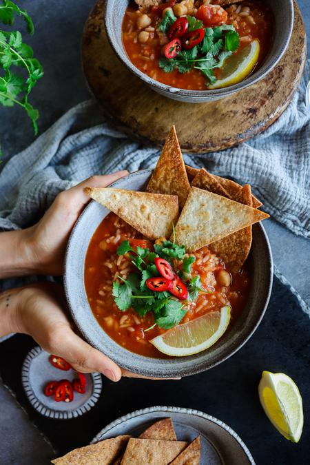 image of Chickpea and Rice Tortilla Soup
