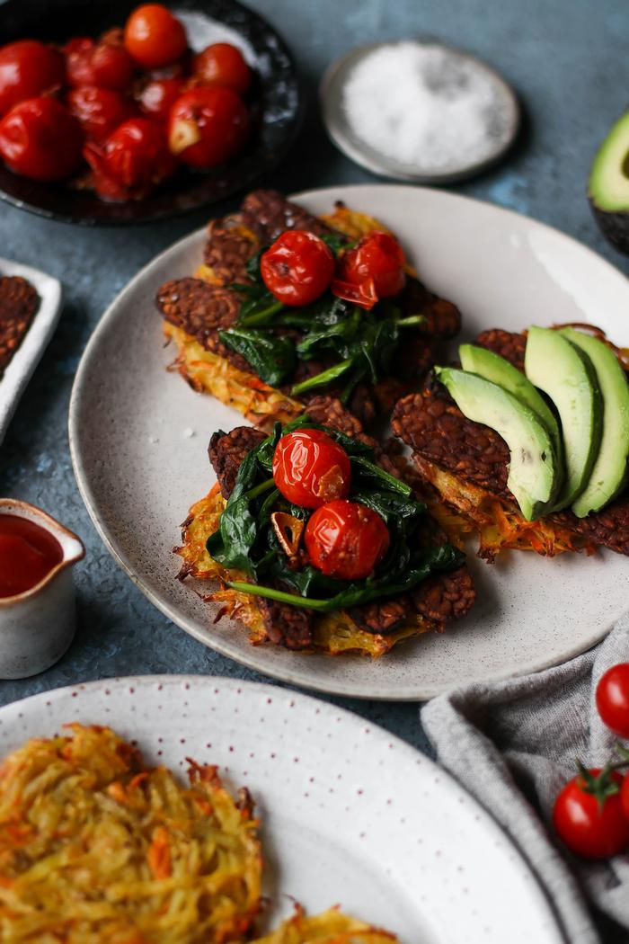 Image of Potato Hash Cakes with Baked Marinated Tempeh