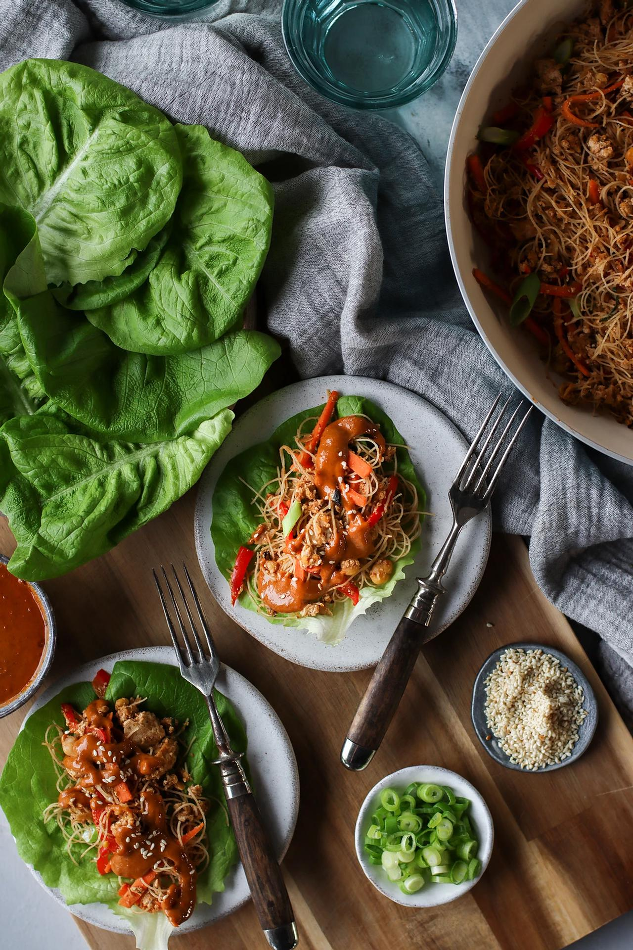Main image of High Protein Lettuce Wraps with a Creamy Peanut Sauce