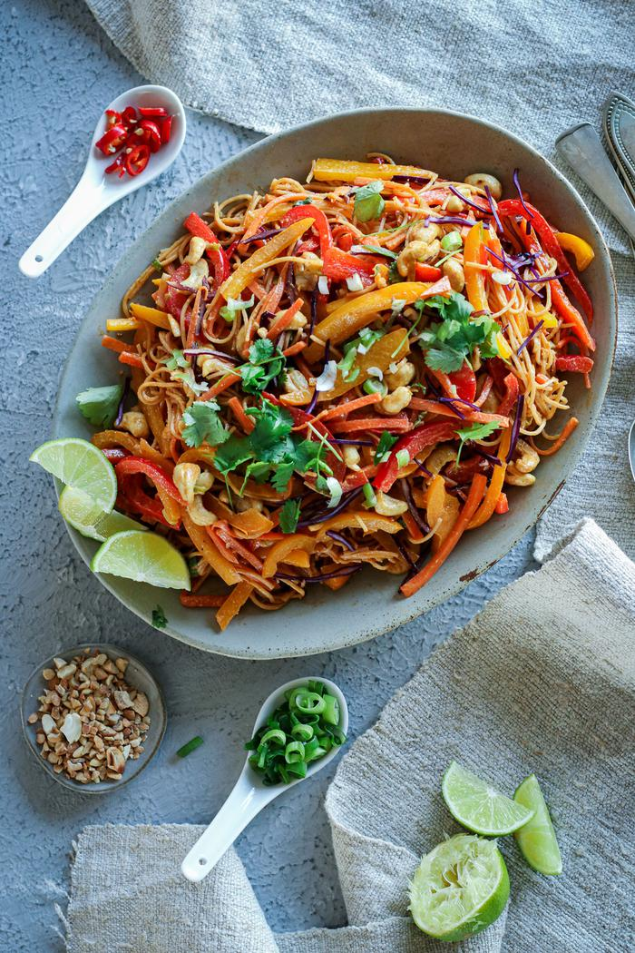 Image of Vegetable Noodle Stir-Fry with Peanut Lime Sauce