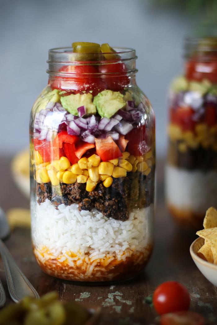 Image of Spiced Black Bean & Rice Salad in a Jar
