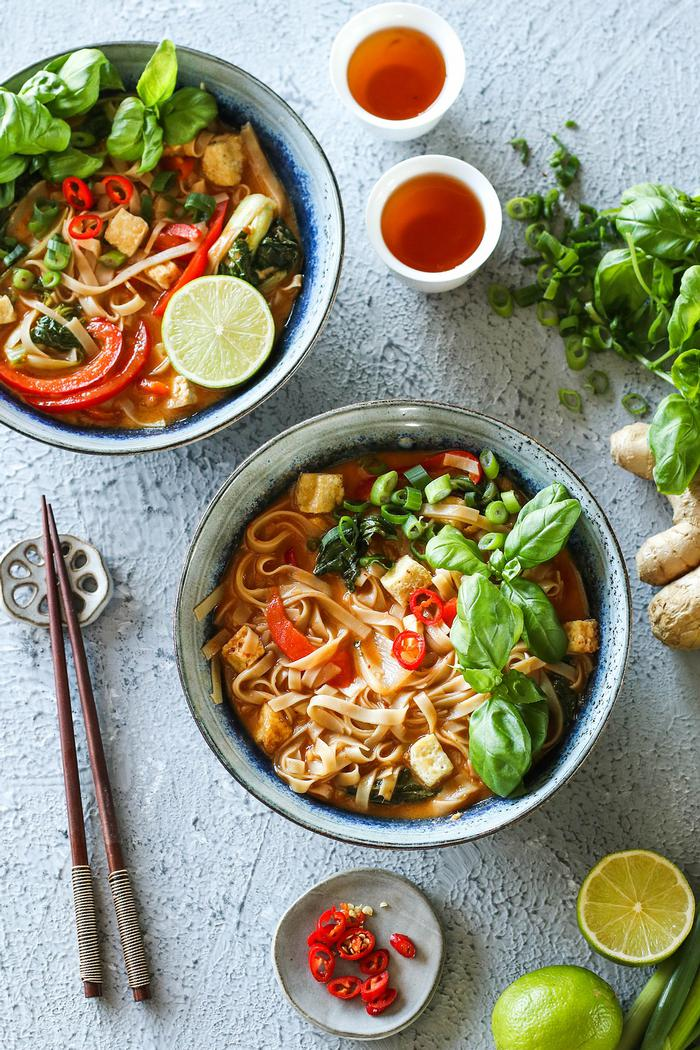 Image of Thai Red Curry Noodle Soup with Crispy Tofu